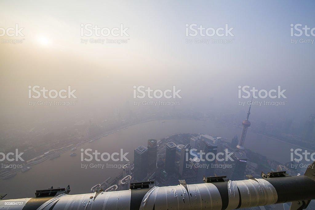 Shanghai Tower, 110 floor ,fog and haze stock photo