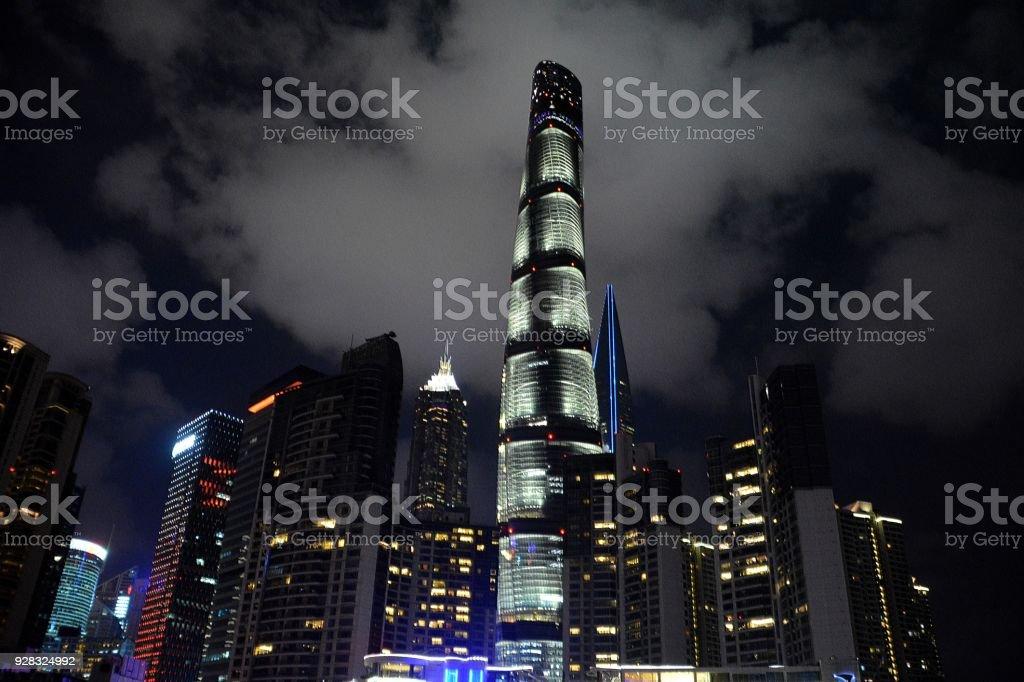 Shanghai Tower by night in Lujiazui, Shanghai, China stock photo