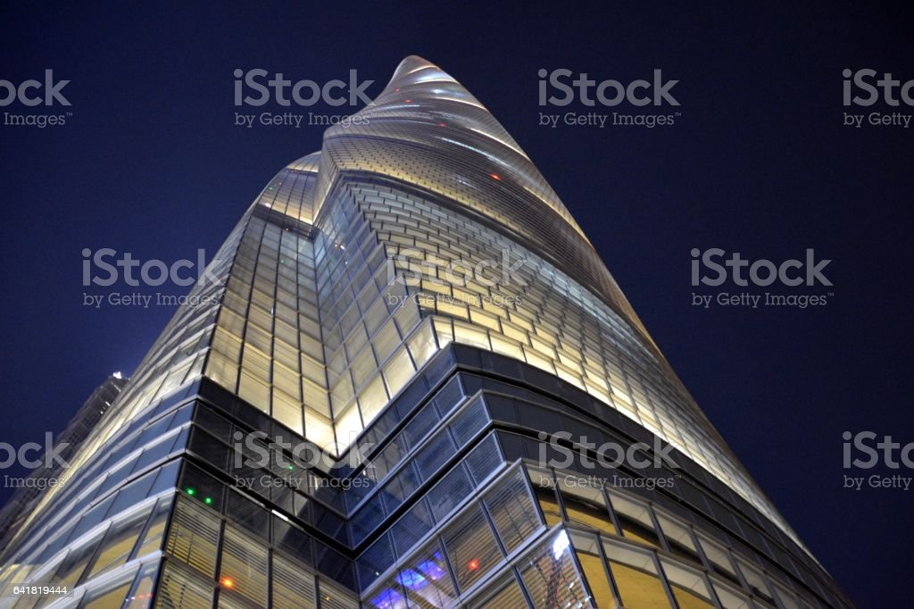 Shanghai Tower by night, Lujiazui, Shanghai, China stock photo