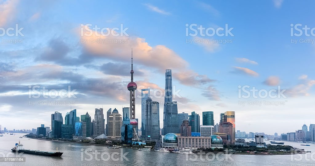 shanghai twilight stock photo