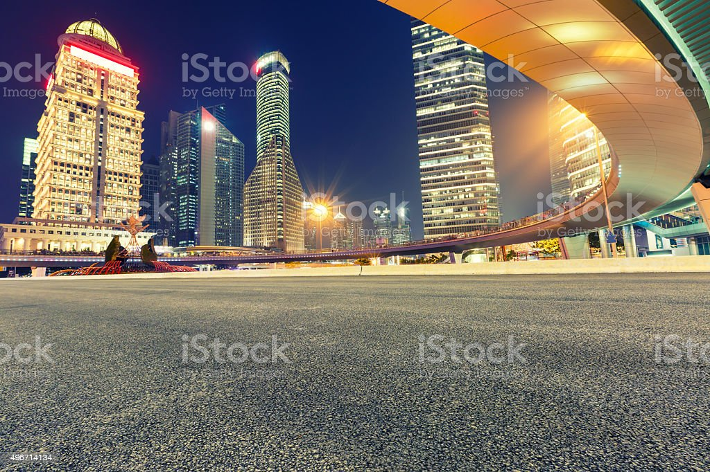 Shanghai Urban landscape and modern architecture at night,in China stock photo