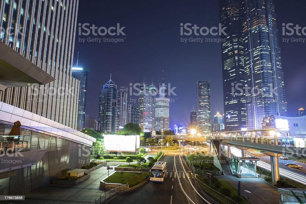 shanghai urban landscape at night,china royalty-free stock photo