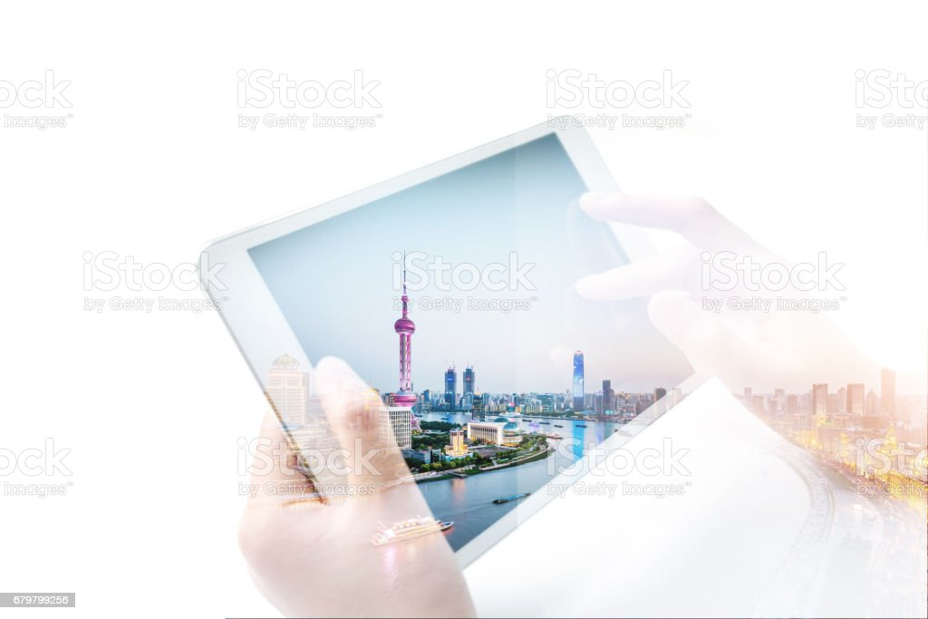 Shanghai urban network space stock photo