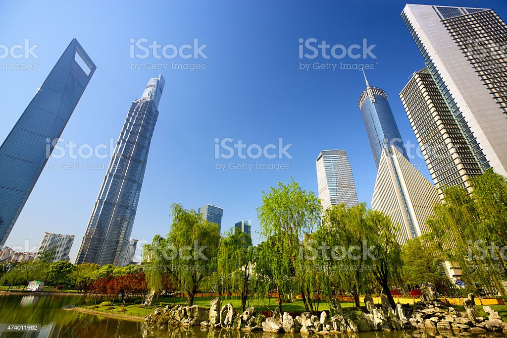 Shanghai urban skyscrapers stock photo