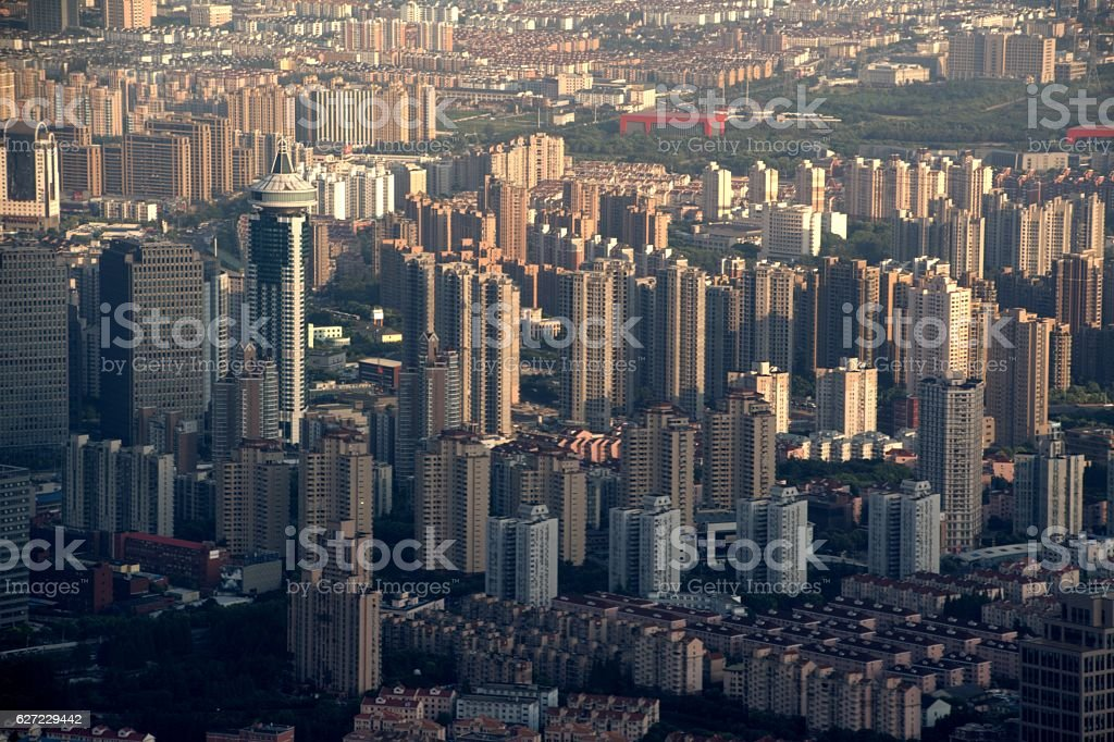 Shanghai urban sprawl, viewed from Shanghai Tower observation deck stock photo