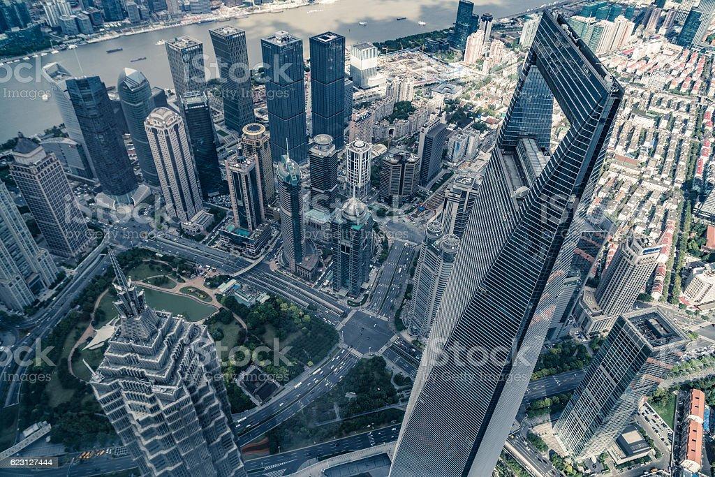 Shanghai view from Shanghai tower stock photo