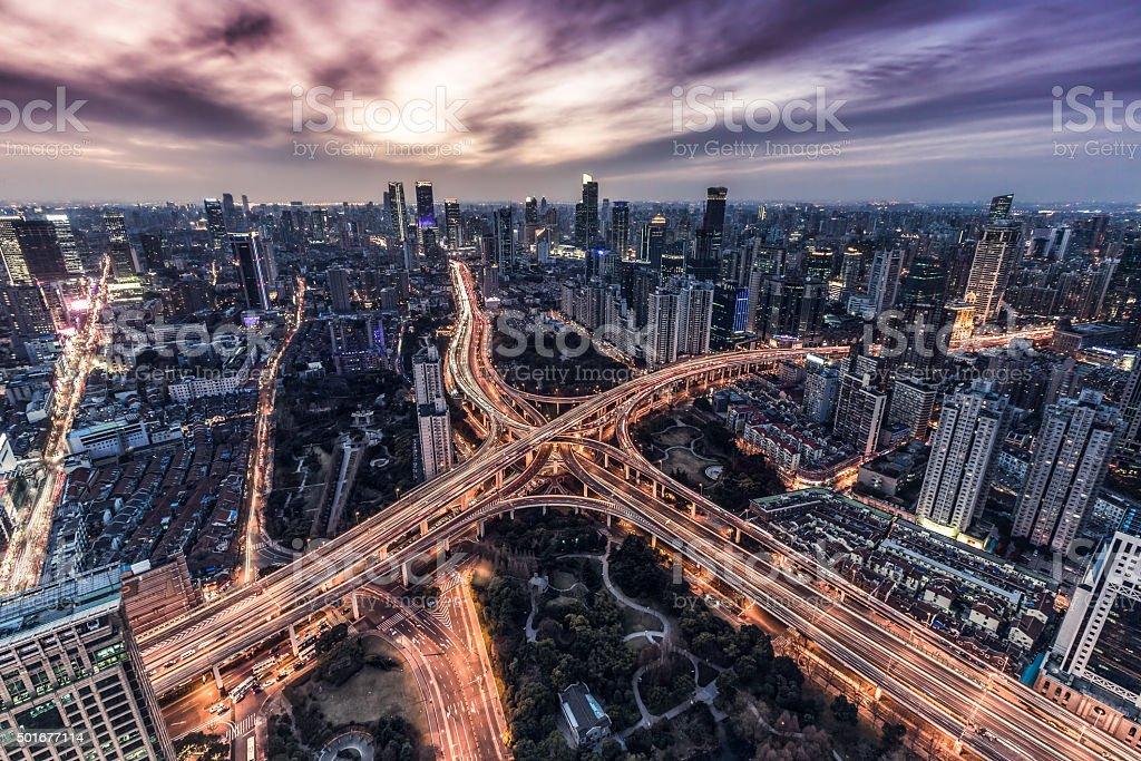 Shanghai X elevated road stock photo