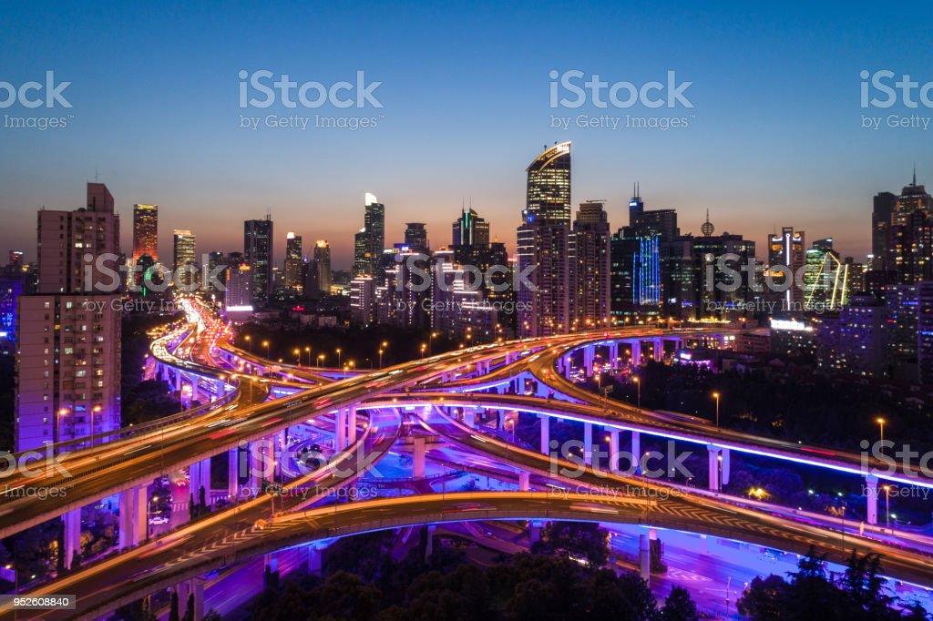shanghai yan an viaduct at night stock photo