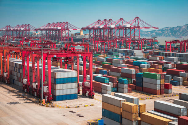 Shanghai Yangshan deepwater port stock photo