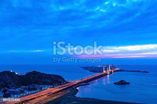 View of donghai bridge at sunset,shanghai,china.