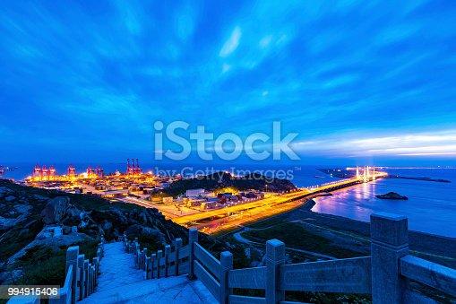 Shanghai Yangshan deepwater port at night.
