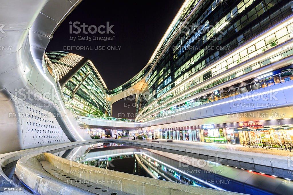 Shanghai's famous landmark SKY SOHO building scene in the evening stock photo