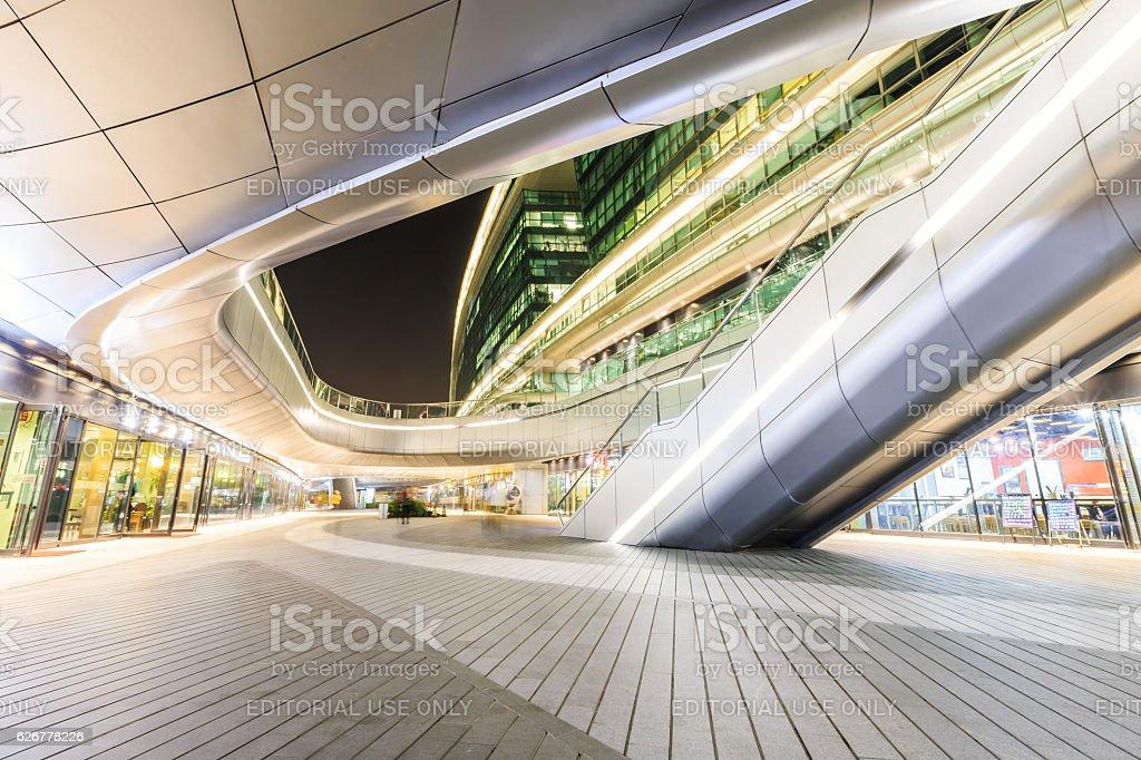 Shanghai's famous SKY SOHO commercial architecture beautiful scene at night stock photo