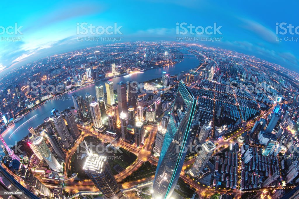 Shanghai's Lujiazui Financial District at Sunset, China stock photo