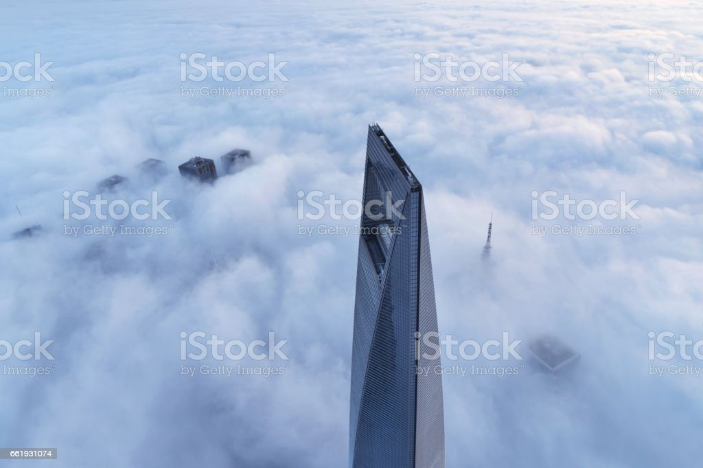 Shanghai's Skyscraper in the Thick Fog, China stock photo