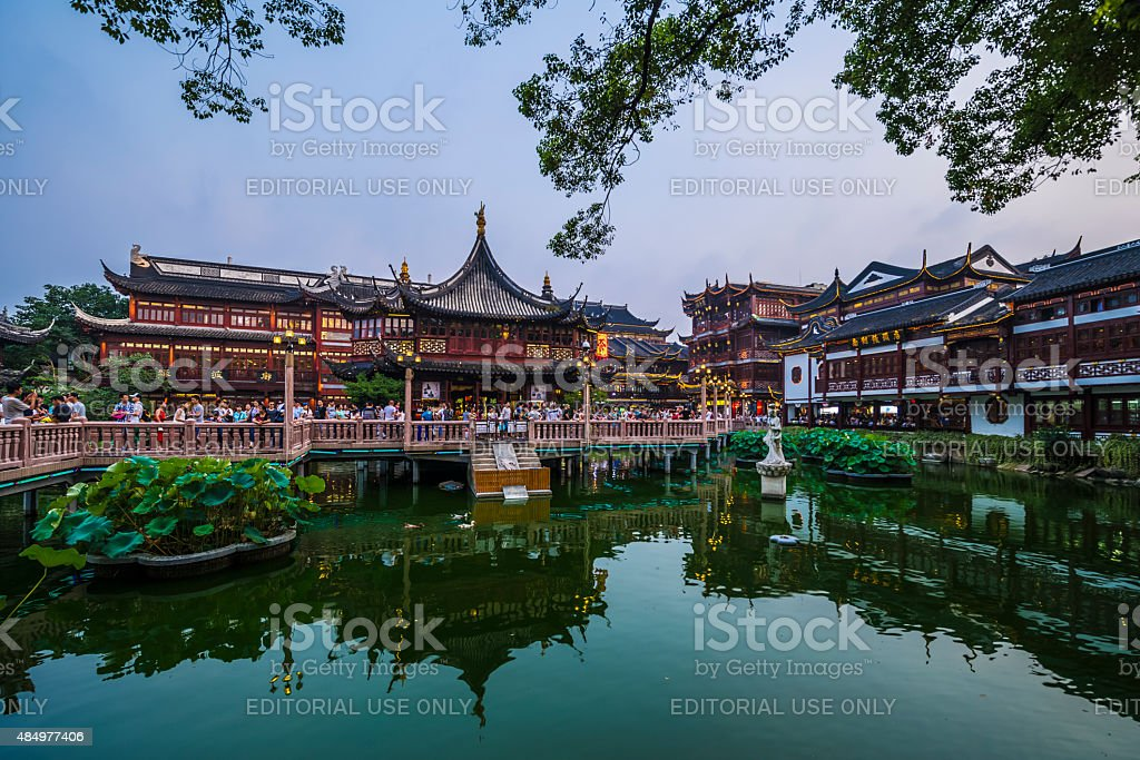shanghai's traditional architecture of yuyuan garden at night stock photo