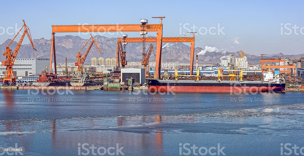Shanhaiguan shipyard at winter stock photo