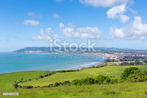 Isle of Wight coast view towards Shanklin and Sandown from Culver Down