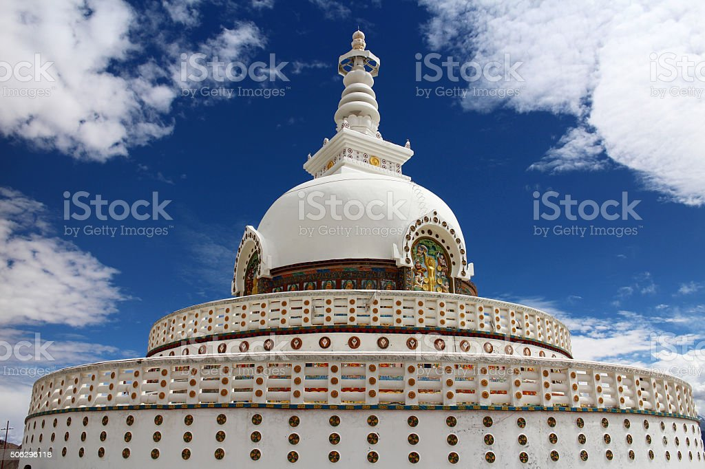 Shanti Stupa, Leh district, Ladakh,  Jammu and Kashmir, India. stock photo