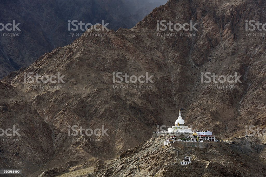 Shanti Stupa, Leh, Ladakh, India stock photo
