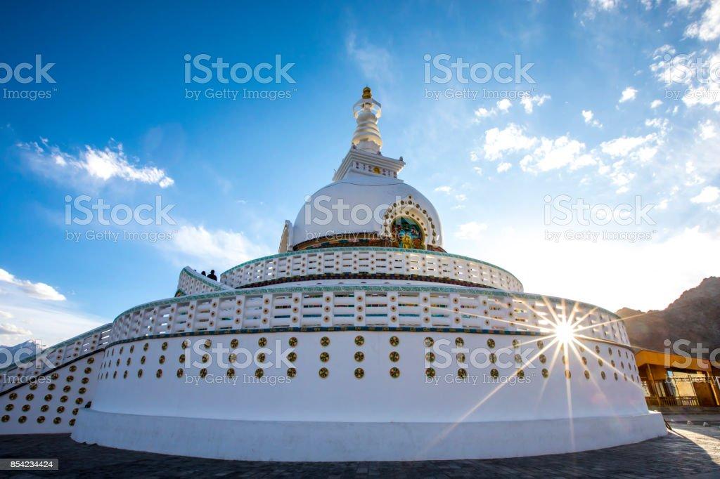 Shanti Stupa, Leh - Ladakh, India stock photo