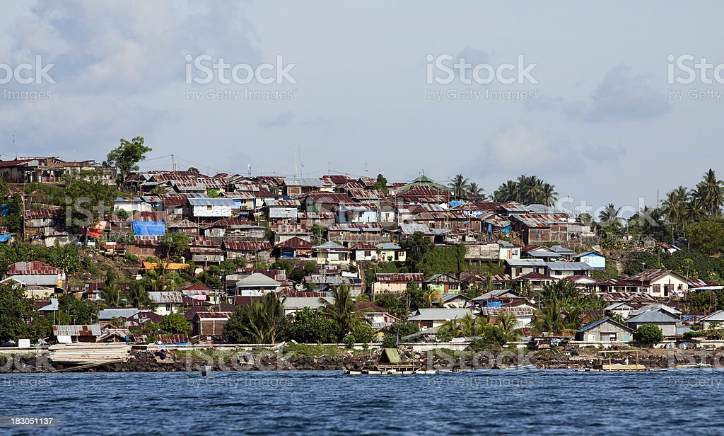 Shanty town in North Sulawesi, Indonesia. stock photo
