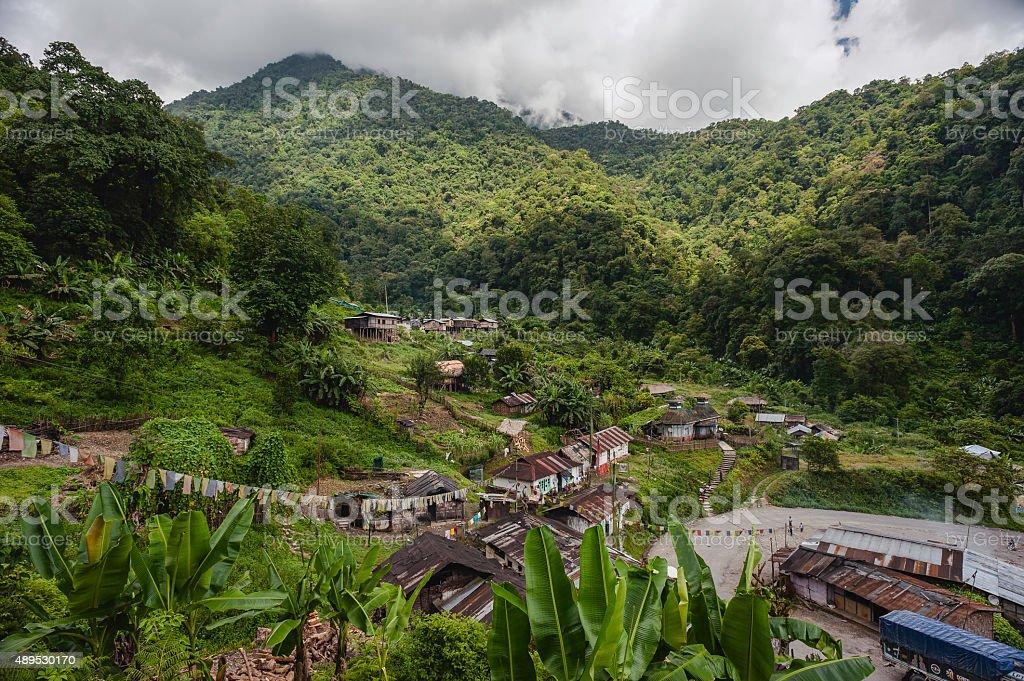 Shanty town on route to Tawang from Assam, Arunachal Pradesh. stock photo