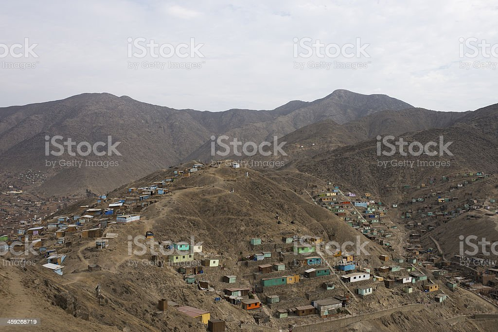 Shantytown in Lima Peru royalty-free stock photo