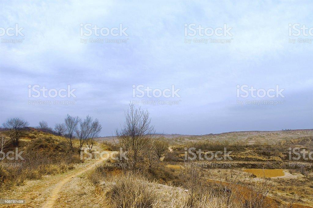 Shanxi Loess Plateau Road stock photo