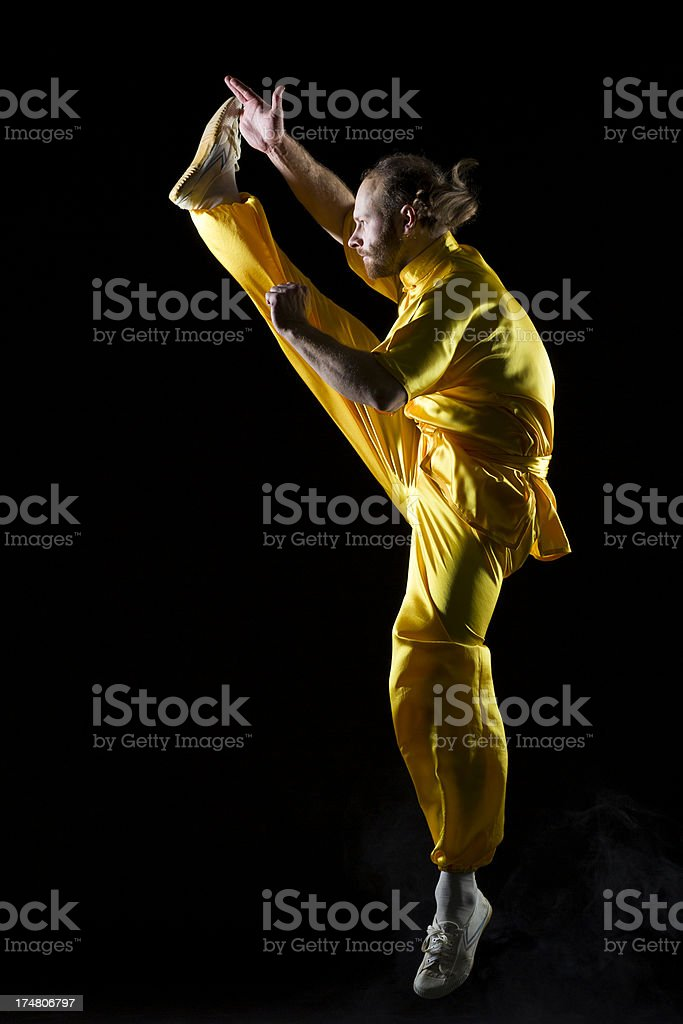 Shaolin Kung Fu warrior in midair royalty-free stock photo