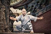 Shaolin warriors monk in traditional kimono.