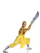 Shaolin warrior monk,body painting,Golden powder.