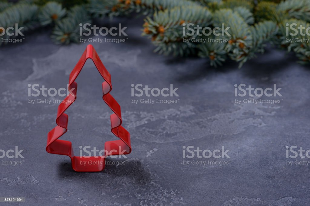 Shape cookies of the tree on dark background stock photo