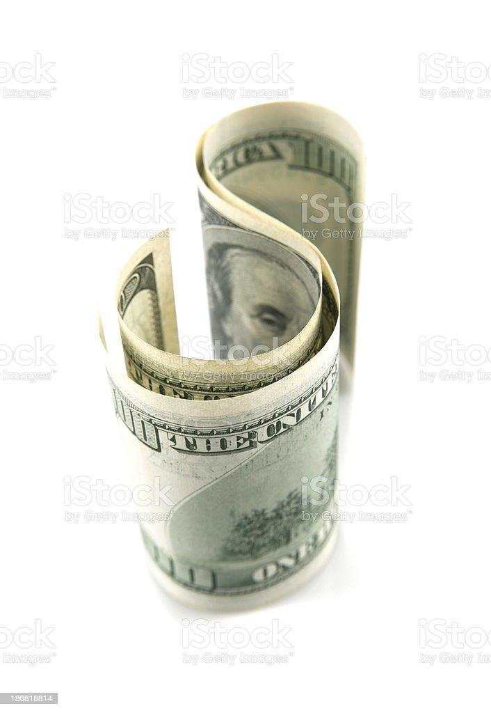 S shape Dollar bills royalty-free stock photo