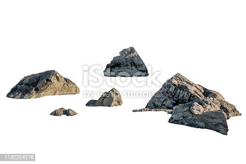 Shape of big rocks on white background