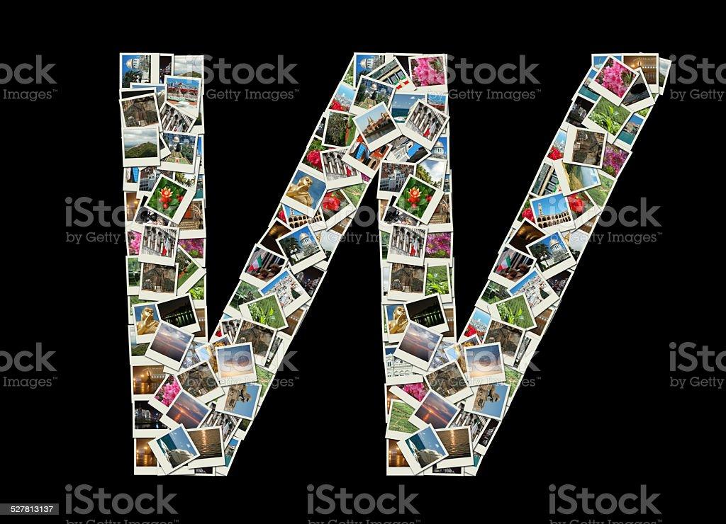 Shape of letter W made of travel photos (Latin alphabet) stock photo