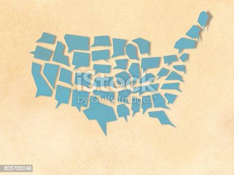 istock USA shape speech bubble paper cutting style 825755246