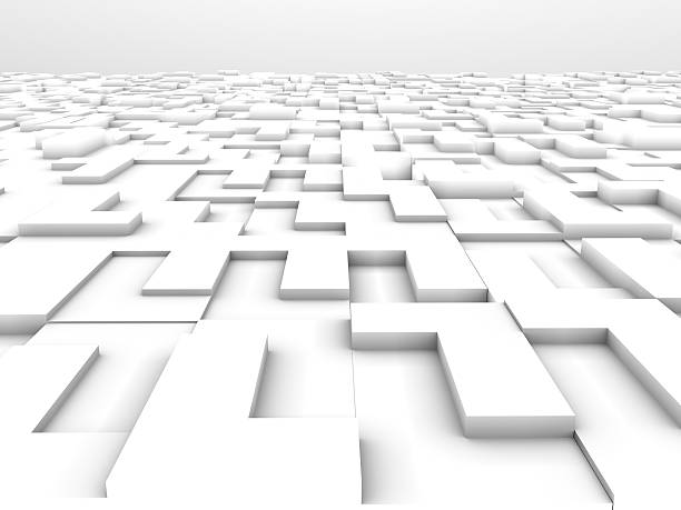 L shape White Blocks Abstract Background. 3D rendering stock photo