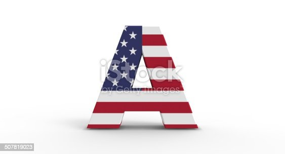 istock 3D A shape with USA flag 507819023
