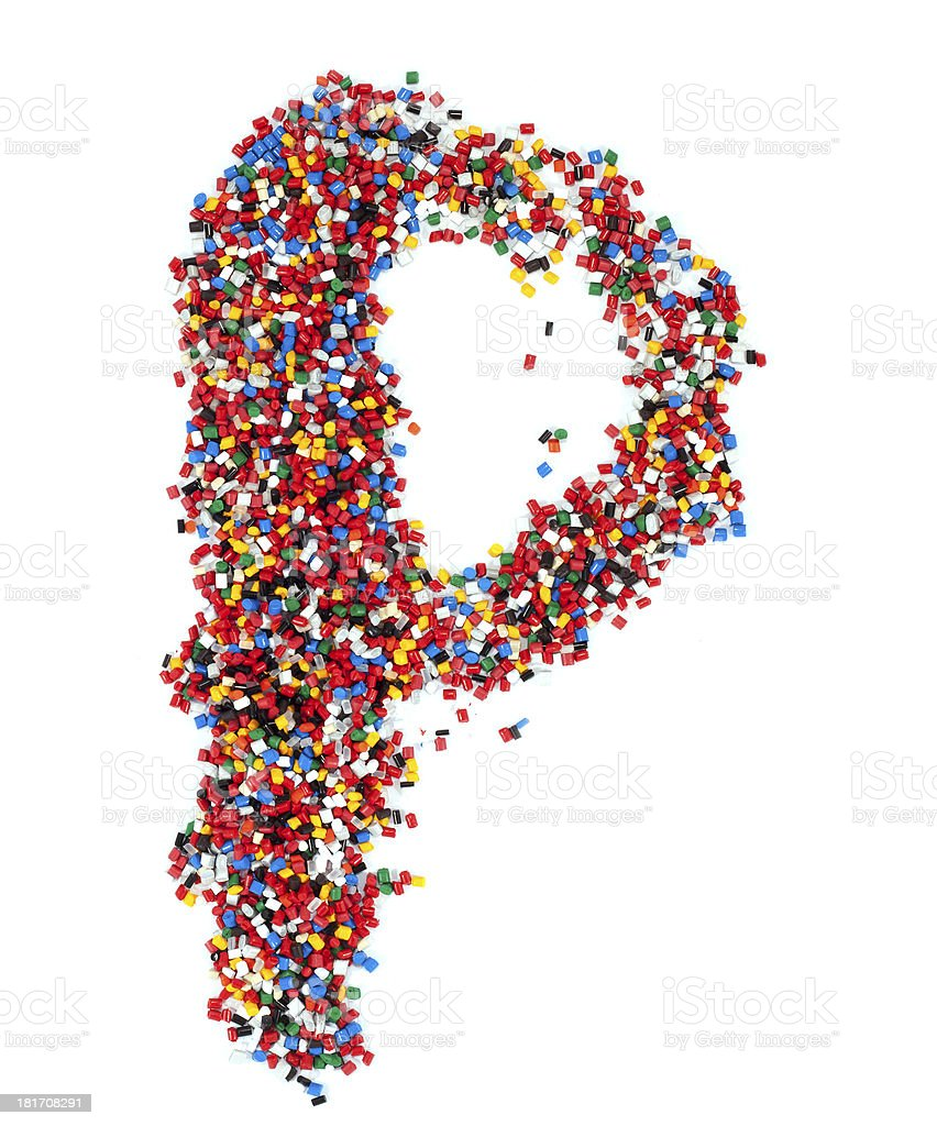P shaped colorful plastic polymer granules stock photo