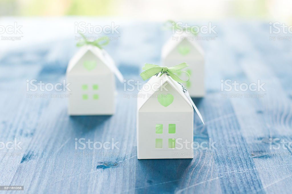 shaped favors the house that contain confetti stock photo