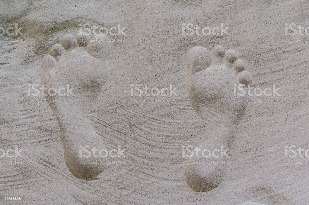 shaped human footprints in the sand royalty-free stock photo