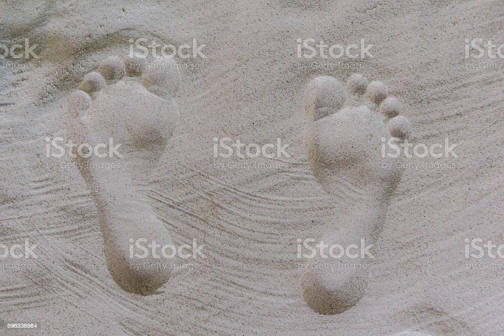 shaped human footprints in the sand Lizenzfreies stock-foto