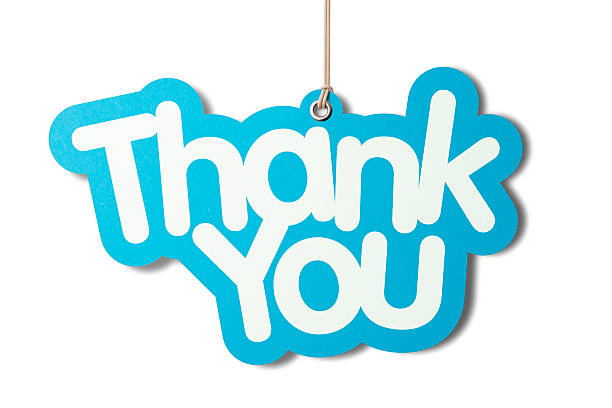 thank you shaped label hanging from cord - thank you stock pictures, royalty-free photos & images