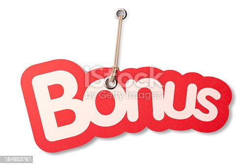 The word 'BONUS' shaped similar to a die-cut label with silver eyelet hanging from beige cord. Isolated on a pure white background, absolutely no dot in the white area no need to cut-out e.g. can be dropped directly on to a white web page seemlessly.
