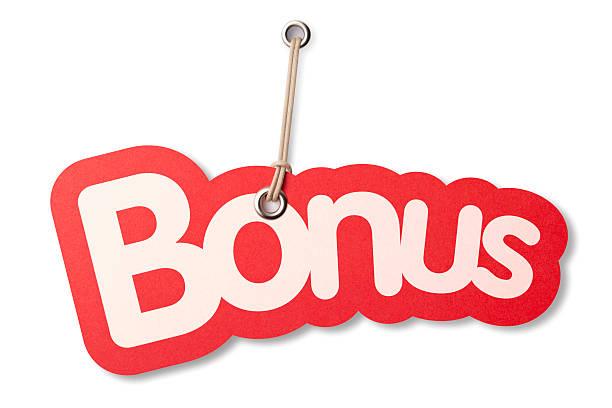 forma di bonus etichetta prezzo - incentivo foto e immagini stock