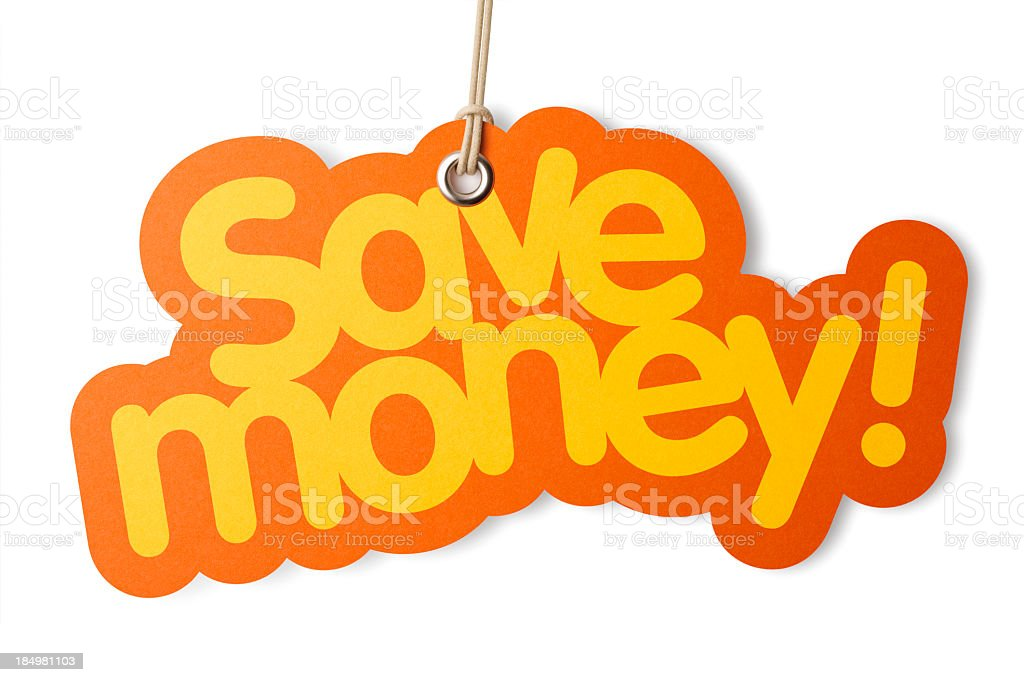 SAVE MONEY shaped label on price tag royalty-free stock photo