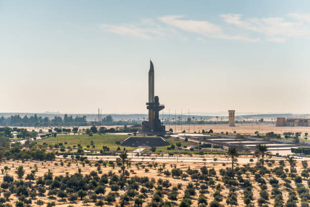 AK-47 shaped monument on the Suez Canal in Egypt stock photo