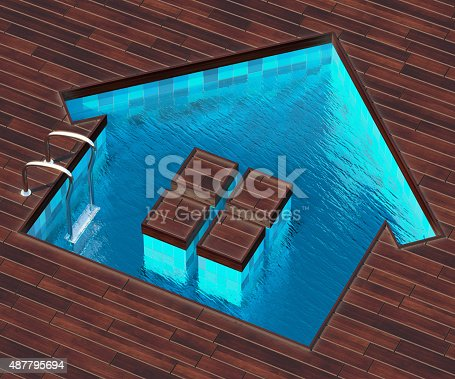 istock Shaped pool house 487795694