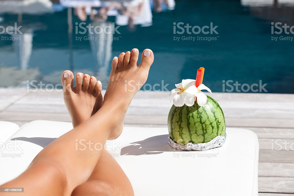 Shapely and smooth legs stock photo